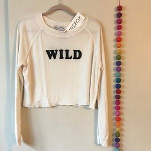 Wildfox long sleeve white crop top XS